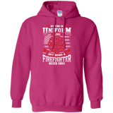 Firefighter Retired t shirt mockup - Style G185 Gildan Pullover Hoodie 8 oz. - Color Heliconia