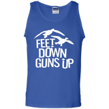 Feet Down Guns Up - Duck Hunting t shirt mockup - Style G220 Gildan 100% Cotton Tank Top - Color Royal