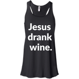 Jesus Drank Wine t shirt mockup - Style B8800 Bella + Canvas Flowy Racerback Tank - Color Black