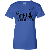 Duck Hunting Evolution t shirt mockup - Style G200L Gildan Ladies' 100% Cotton T-Shirt - Color Royal