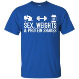 Sex, Weights & Protein Shakes t shirt mockup - Style G200 Gildan Ultra Cotton T-Shirt - Color Royal