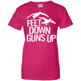 Feet Down Guns Up - Duck Hunting t shirt mockup - Style G200L Gildan Ladies' 100% Cotton T-Shirt - Color Heliconia