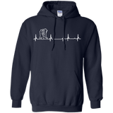 Wing Chun Heartbeat t shirt mockup - Style Pullover Hoodie 8 oz - Color Navy