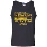 Installing Muay Thai Skills t shirt mockup - Style 100% Cotton Tank Top - Color Black