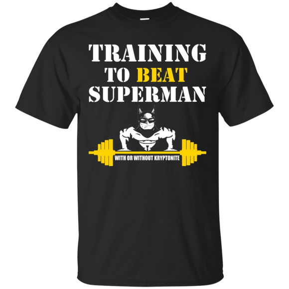 Training To Beat Superman t shirt mockup - Style G200 Gildan Ultra Cotton T-Shirt - Color Black