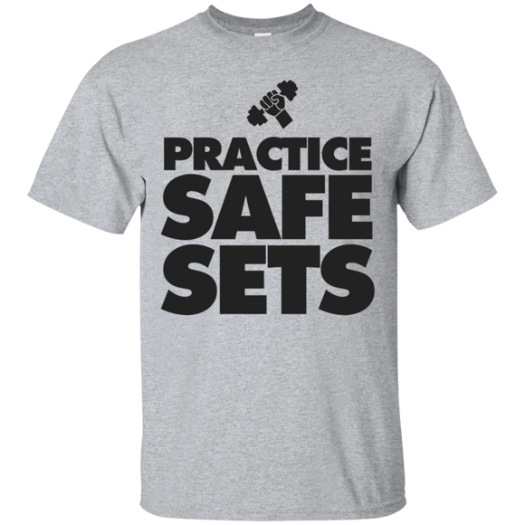 Pratice Safe Sets t shirt mockup - Style G200 Gildan Ultra Cotton T-Shirt - Color Sport Grey