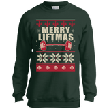 Merry Liftmas - Workout Ugly Christmas Sweater t shirt mockup - Style PC90Y Port and Co. Youth Crewneck Sweatshirt - Color Dark Green