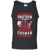 Being A Fire Man t shirt mockup - Style G220 Gildan 100% Cotton Tank Top - Color Black