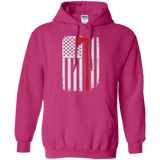 Firefighter Axe US Flag t shirt mockup - Style G185 Gildan Pullover Hoodie 8 oz. - Color Heliconia