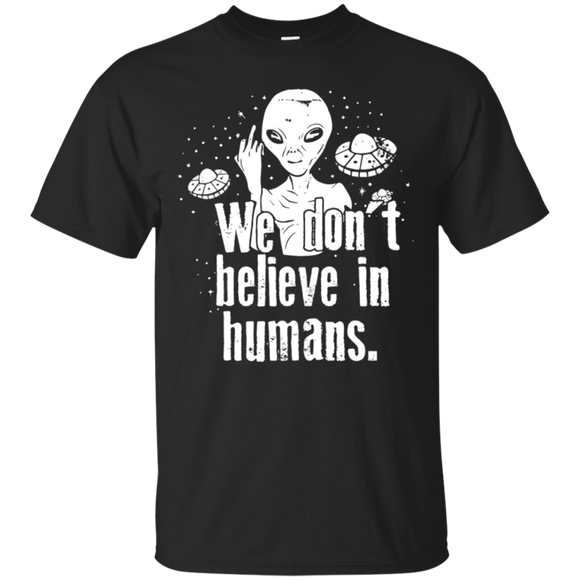 Alien Believe t shirt mockup - Style G200 Gildan Ultra Cotton T-Shirt - Color Black