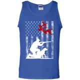Duck Hunting USA Flag t shirt mockup - Style G220 Gildan 100% Cotton Tank Top - Color Royal