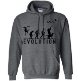 Duck Hunting Evolution t shirt mockup - Style G185 Gildan Pullover Hoodie 8 oz. - Color Dark Heather