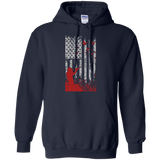 Duck Hunting US Flag t shirt mockup - Style G185 Gildan Pullover Hoodie 8 oz. - Color Navy
