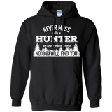 Never Mess With A Hunter t shirt mockup - Style G185 Gildan Pullover Hoodie 8 oz. - Color Black