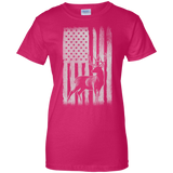 Deer Hunting US Flag t shirt mockup - Style G200L Gildan Ladies' 100% Cotton T-Shirt - Color Heliconia