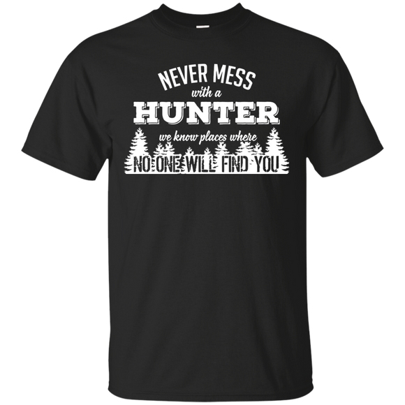Never Mess With A Hunter t shirt mockup - Style G200 Gildan Ultra Cotton T-Shirt - Color Black