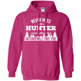 Never Mess With A Hunter t shirt mockup - Style G185 Gildan Pullover Hoodie 8 oz. - Color Heliconia