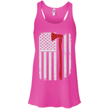 Firefighter Axe US Flag t shirt mockup - Style B8800 Bella + Canvas Flowy Racerback Tank - Color Neon Pink