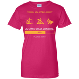 BJJ Skills Loading t shirt mockup - Style Ladies Custom 100% Cotton T-Shirt - Color Heliconia