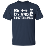 Sex, Weights & Protein Shakes t shirt mockup - Style G200 Gildan Ultra Cotton T-Shirt - Color Navy