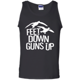 Feet Down Guns Up - Duck Hunting t shirt mockup - Style G220 Gildan 100% Cotton Tank Top - Color Black