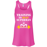 Training To Beat Superman t shirt mockup - Style B8800 Bella + Canvas Flowy Racerback Tank - Color Neon Pink