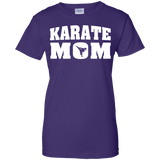 Karate Mom t shirt mockup - Style Ladies Custom 100% Cotton T-Shirt - Color Purple