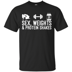 Sex, Weights & Protein Shakes t shirt mockup - Style G200 Gildan Ultra Cotton T-Shirt - Color Black