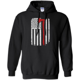 Firefighter Axe US Flag t shirt mockup - Style G185 Gildan Pullover Hoodie 8 oz. - Color Black