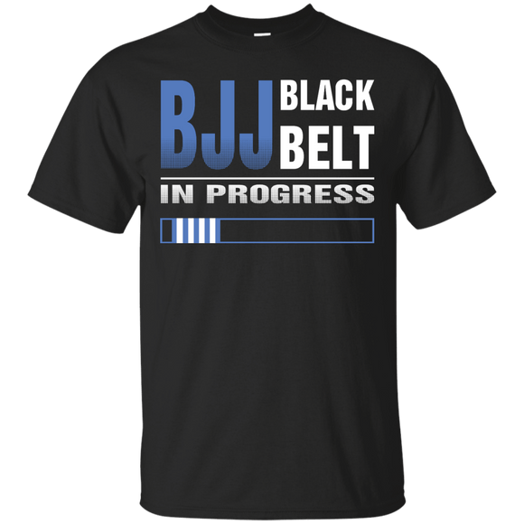 BJJ Black Belt In Progress t shirt mockup - Style Custom Ultra Cotton T-Shirt - Color Black
