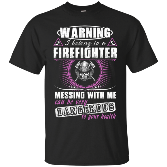 I Belong To A Firefighter t shirt mockup - Style G200 Gildan Ultra Cotton T-Shirt - Color Black