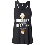 Dorothy In The Streets Blanche In The Sheets t shirt mockup - Style B8800 Bella + Canvas Flowy Racerback Tank - Color Black