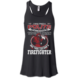 I Became A Firefighter t shirt mockup - Style B8800 Bella + Canvas Flowy Racerback Tank - Color Black