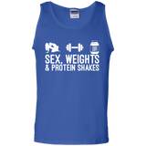 Sex, Weights & Protein Shakes t shirt mockup - Style G220 Gildan 100% Cotton Tank Top - Color Royal