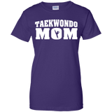 Taekwondo Mom t shirt mockup - Style Ladies Custom 100% Cotton T-Shirt - Color Purple