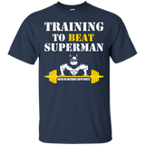 Training To Beat Superman t shirt mockup - Style G200 Gildan Ultra Cotton T-Shirt - Color Navy