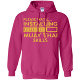 Installing Muay Thai Skills t shirt mockup - Style Pullover Hoodie 8 oz - Color Heliconia