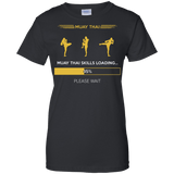 Muay Thai Skills Loading t shirt mockup - Style Ladies Custom 100% Cotton T-Shirt - Color Black