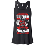 Being A Fire Man t shirt mockup - Style B8800 Bella + Canvas Flowy Racerback Tank - Color Black