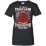 Firefighter Retired t shirt mockup - Style G200L Gildan Ladies' 100% Cotton T-Shirt - Color Black