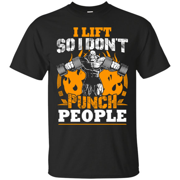 I Lift So I Don't Punch People t shirt mockup - Style G200 Gildan Ultra Cotton T-Shirt - Color Black