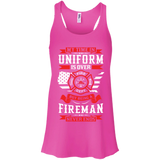 Being A Fire Man t shirt mockup - Style B8800 Bella + Canvas Flowy Racerback Tank - Color Neon Pink