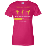 Muay Thai Skills Loading t shirt mockup - Style Ladies Custom 100% Cotton T-Shirt - Color Heliconia
