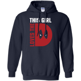 This Girl Loves The D Deadpool t shirt mockup - Style G185 Gildan Pullover Hoodie 8 oz. - Color Navy