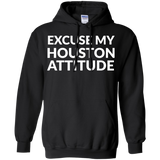 Excuse My Houston Attitude t shirt mockup - Style G185 Gildan Pullover Hoodie 8 oz. - Color Black