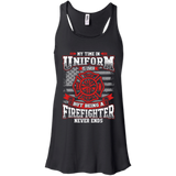 Firefighter Retired t shirt mockup - Style B8800 Bella + Canvas Flowy Racerback Tank - Color Black