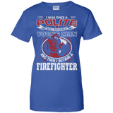 I Became A Firefighter t shirt mockup - Style G200L Gildan Ladies' 100% Cotton T-Shirt - Color Royal