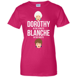 Dorothy In The Streets Blanche In The Sheets t shirt mockup - Style G200L Gildan Ladies' 100% Cotton T-Shirt - Color Heliconia