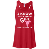 Karate Girl t shirt mockup - Style Bella+Canvas Flowy Racerback Tank - Color Red