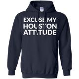 Excuse My Houston Attitude t shirt mockup - Style G185 Gildan Pullover Hoodie 8 oz. - Color Navy